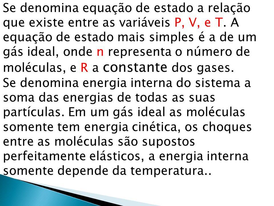 Se denomina equação de estado a relação que existe entre as variáveis P, V, e T. A equação de estado mais simples é a de um gás ideal, onde n represen