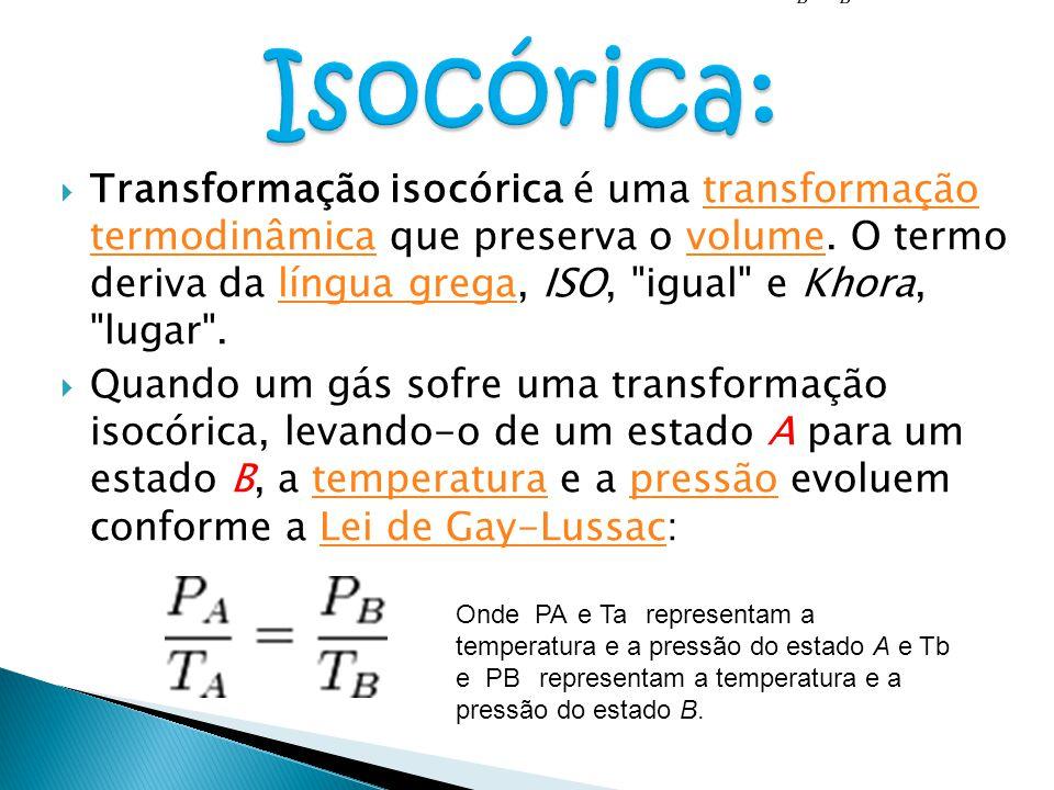  Transformação isocórica é uma transformação termodinâmica que preserva o volume. O termo deriva da língua grega, ISO,
