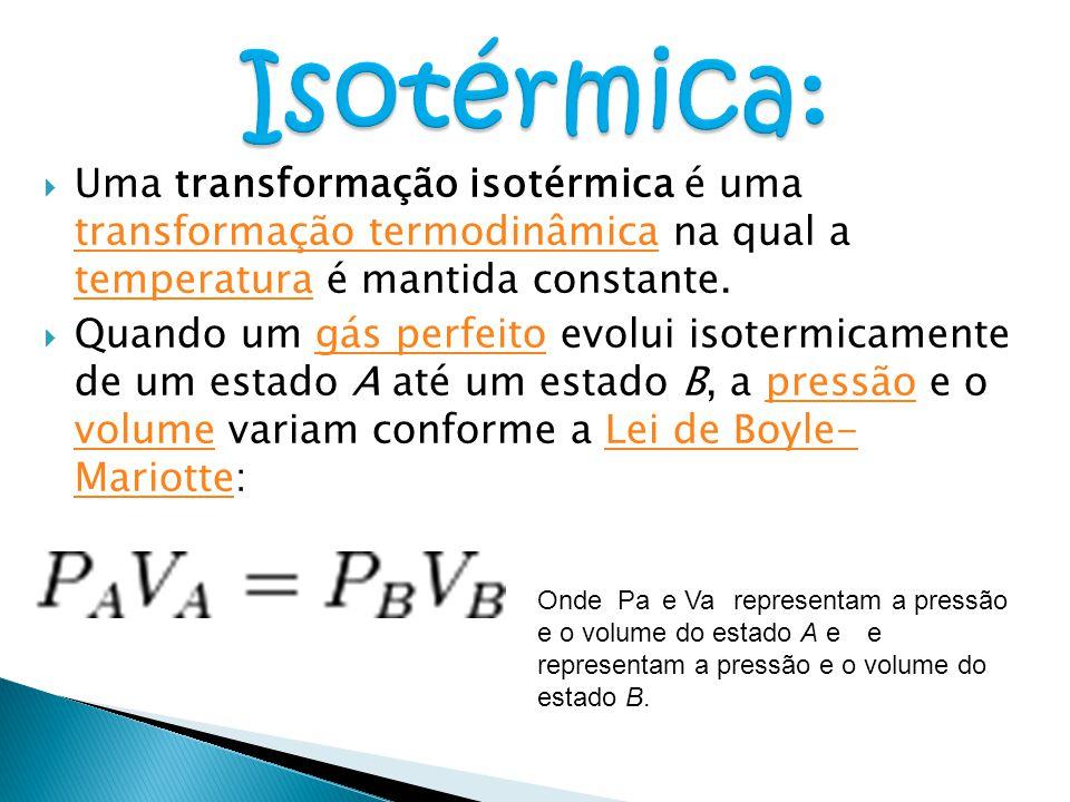  Uma transformação isotérmica é uma transformação termodinâmica na qual a temperatura é mantida constante. transformação termodinâmica temperatura 