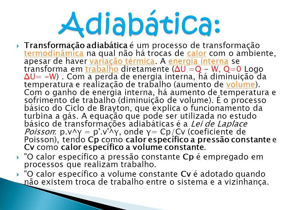  Transformação adiabática é um processo de transformação termodinâmica na qual não há trocas de calor com o ambiente, apesar de haver variação térmic