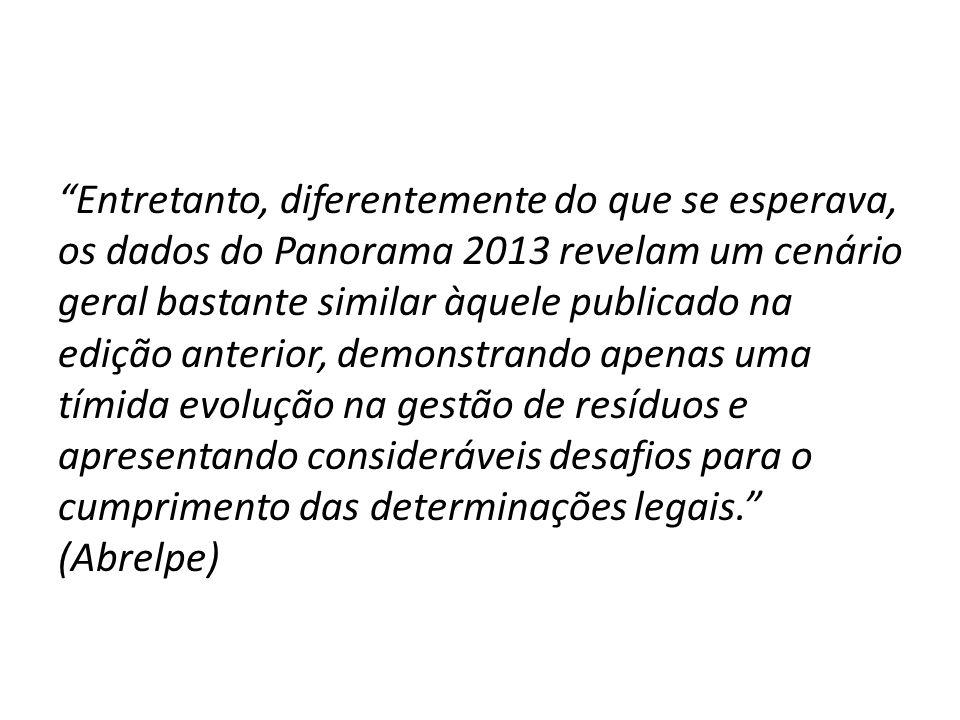 """""""Entretanto, diferentemente do que se esperava, os dados do Panorama 2013 revelam um cenário geral bastante similar àquele publicado na edição anterio"""