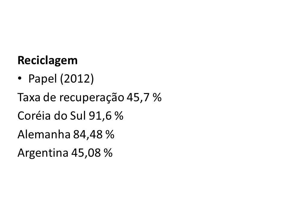 Reciclagem Papel (2012) Taxa de recuperação 45,7 % Coréia do Sul 91,6 % Alemanha 84,48 % Argentina 45,08 %