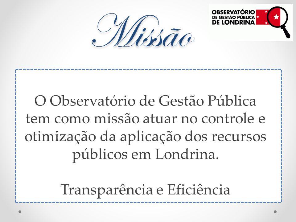 Missão O Observatório de Gestão Pública tem como missão atuar no controle e otimização da aplicação dos recursos públicos em Londrina.
