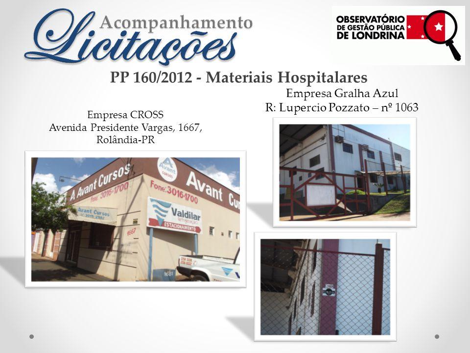 Empresa CROSS Avenida Presidente Vargas, 1667, Rolândia-PR Empresa Gralha Azul R: Lupercio Pozzato – nº 1063 PP 160/2012 - Materiais Hospitalares