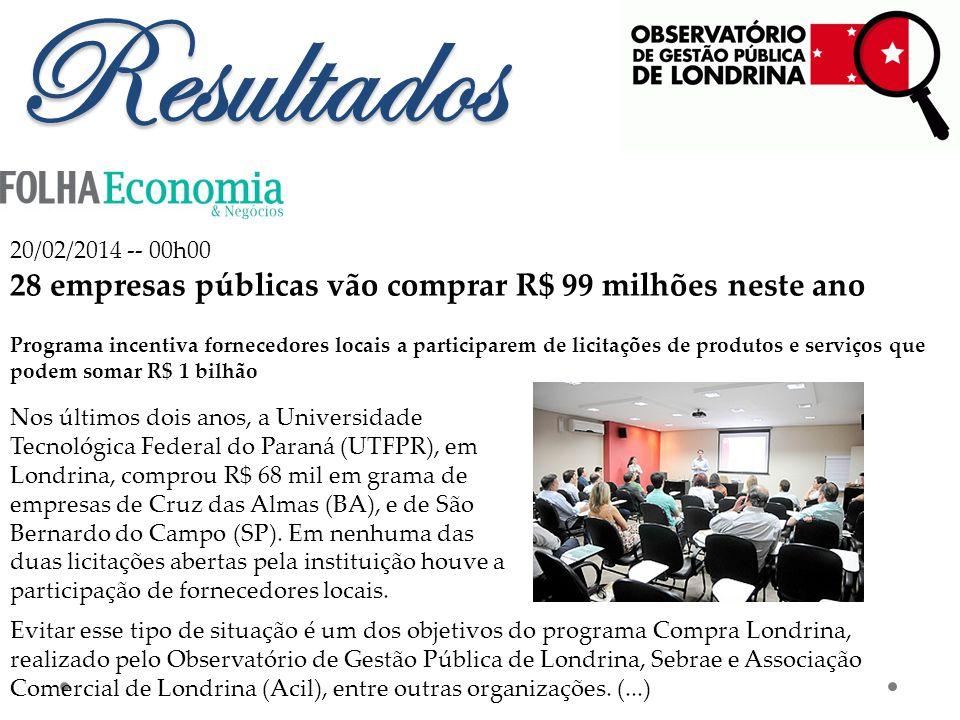 Resultados 20/02/2014 -- 00h00 28 empresas públicas vão comprar R$ 99 milhões neste ano Programa incentiva fornecedores locais a participarem de licitações de produtos e serviços que podem somar R$ 1 bilhão Nos últimos dois anos, a Universidade Tecnológica Federal do Paraná (UTFPR), em Londrina, comprou R$ 68 mil em grama de empresas de Cruz das Almas (BA), e de São Bernardo do Campo (SP).