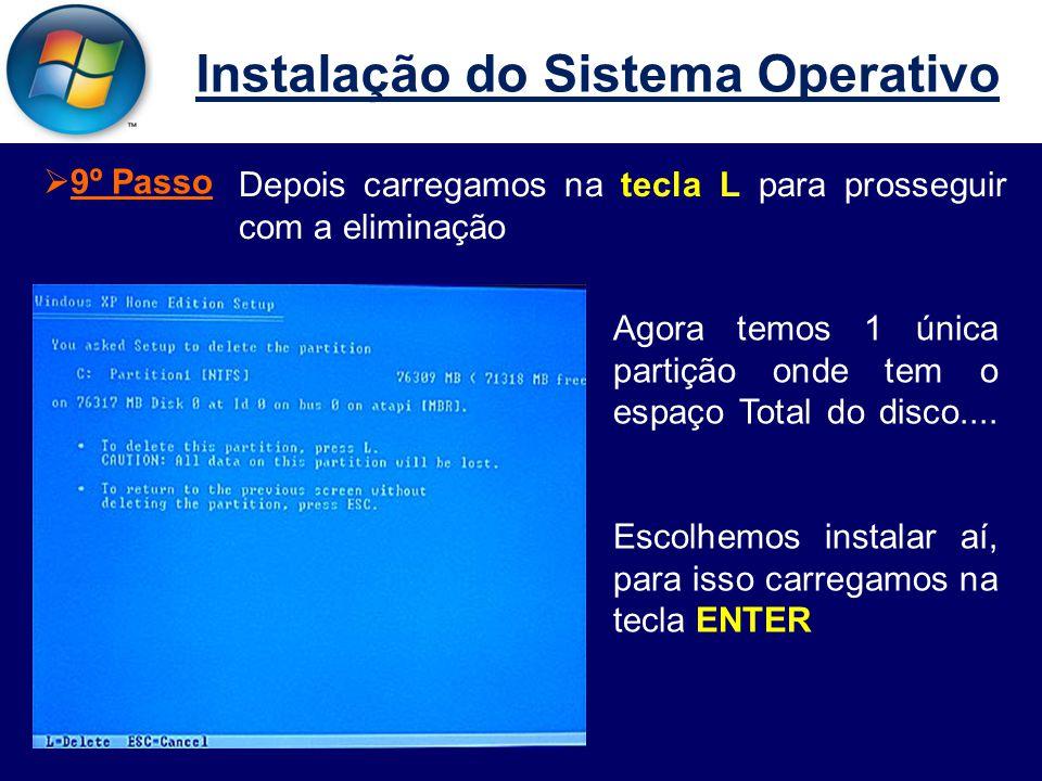 Instalação do Sistema Operativo Depois carregamos na tecla L para prosseguir com a eliminação  9º Passo Agora temos 1 única partição onde tem o espaço Total do disco....