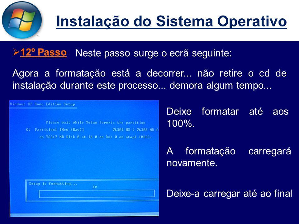 Instalação do Sistema Operativo  12º Passo Neste passo surge o ecrã seguinte: Agora a formatação está a decorrer...