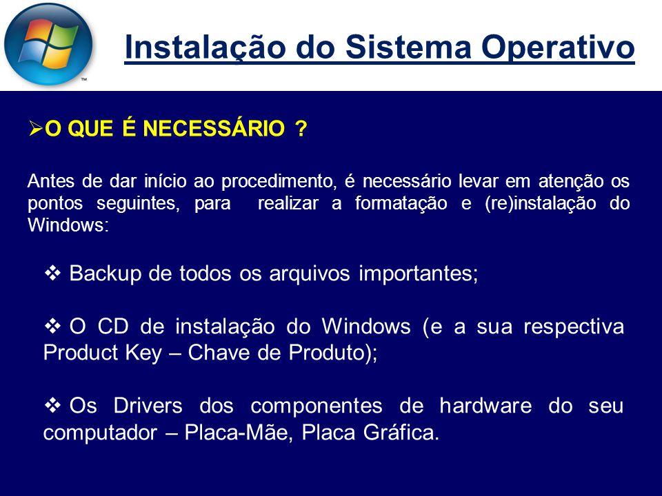 Instalação do Sistema Operativo  10º Passo Para criar uma partição (o que é recomendável), devemos premir a tecla C.