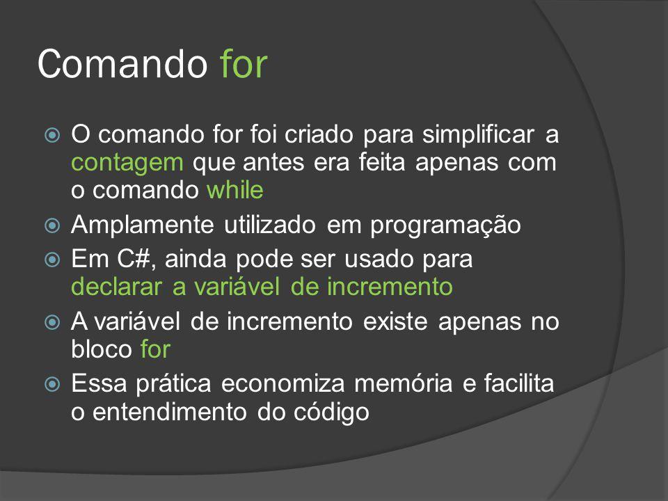 Comando for  O comando for foi criado para simplificar a contagem que antes era feita apenas com o comando while  Amplamente utilizado em programaçã