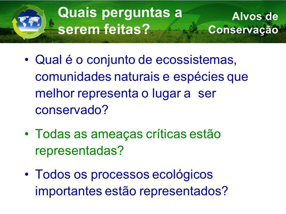 Qual é o conjunto de ecossistemas, comunidades naturais e espécies que melhor representa o lugar a ser conservado.