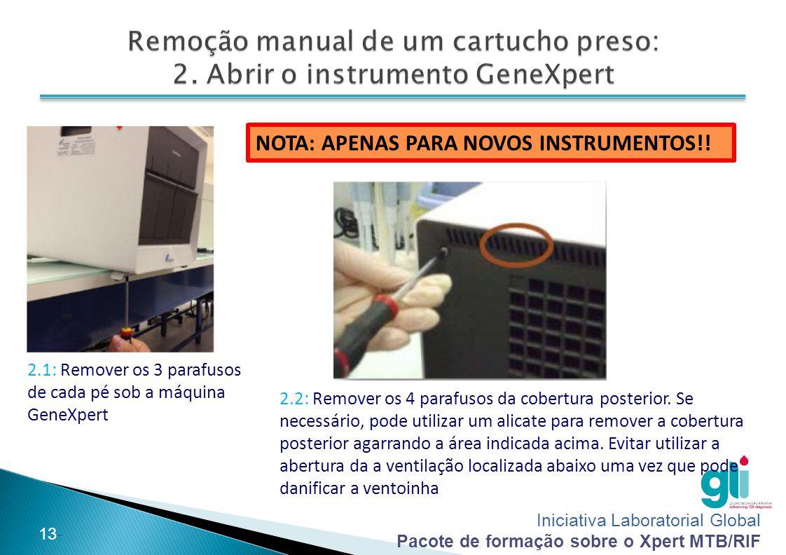 Iniciativa Laboratorial Global Pacote de formação sobre o Xpert MTB/RIF -13- NOTA: APENAS PARA NOVOS INSTRUMENTOS!! 2.1: Remover os 3 parafusos de cad