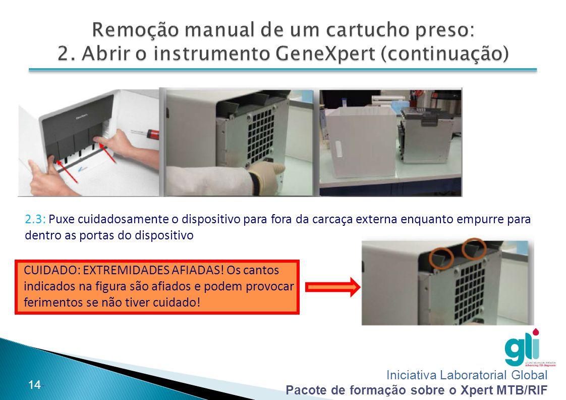 Iniciativa Laboratorial Global Pacote de formação sobre o Xpert MTB/RIF -14- 2.3: Puxe cuidadosamente o dispositivo para fora da carcaça externa enqua