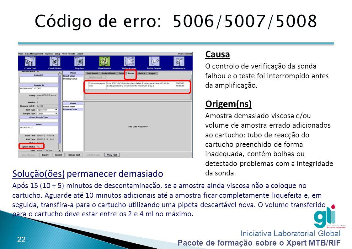 Iniciativa Laboratorial Global Pacote de formação sobre o Xpert MTB/RIF -22- Código de erro: 5006/5007/5008 Causa O controlo de verificação da sonda f