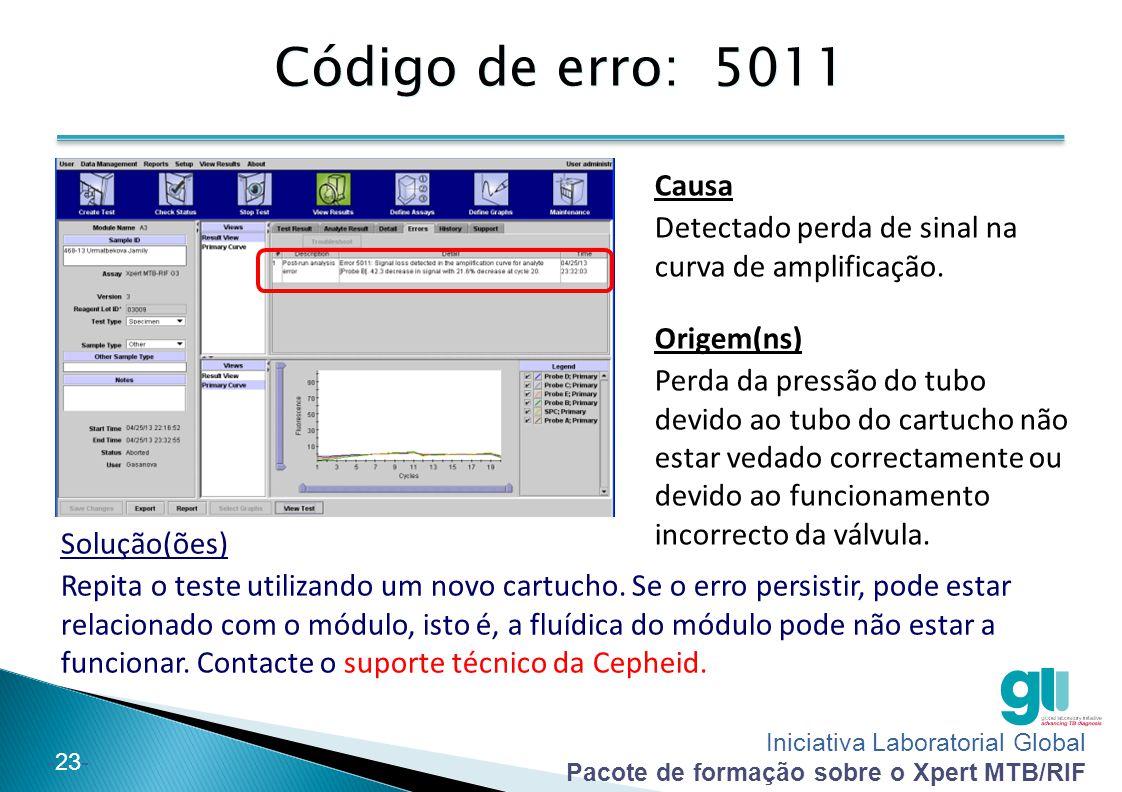Iniciativa Laboratorial Global Pacote de formação sobre o Xpert MTB/RIF -23- Código de erro: 5011 Solução(ões) Repita o teste utilizando um novo cartu