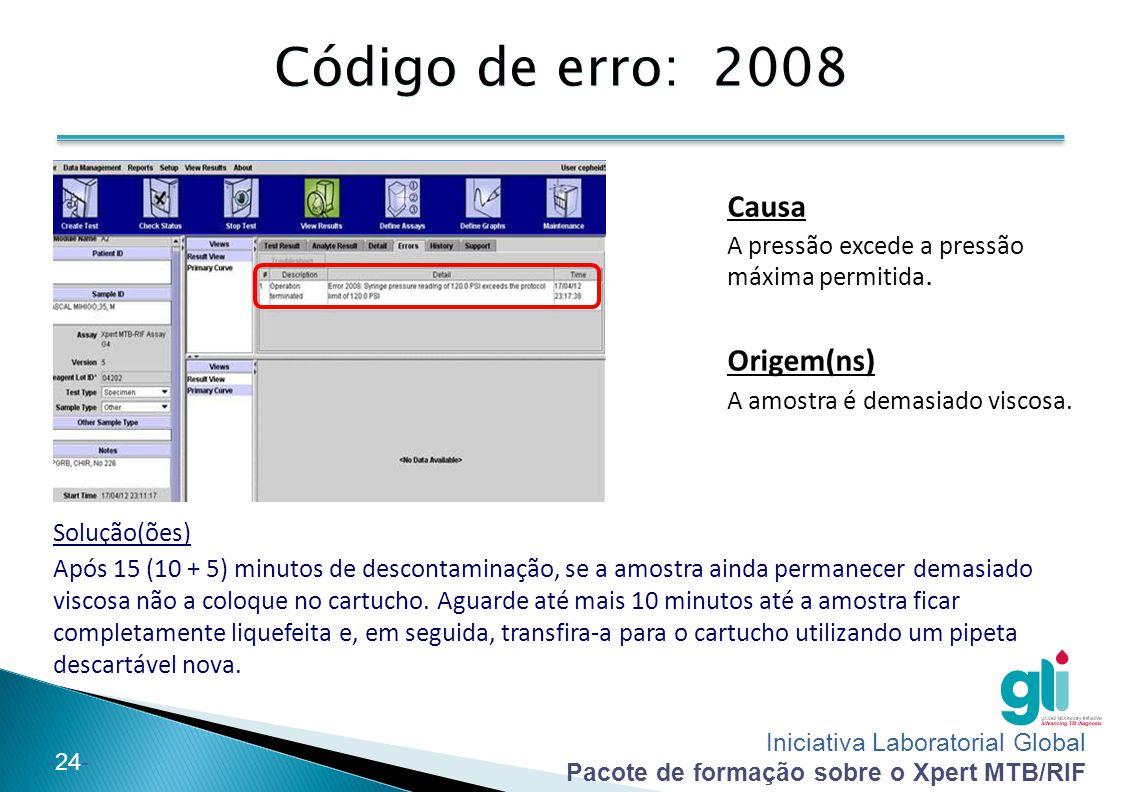 Iniciativa Laboratorial Global Pacote de formação sobre o Xpert MTB/RIF -24- Código de erro: 2008 Solução(ões) Após 15 (10 + 5) minutos de descontamin