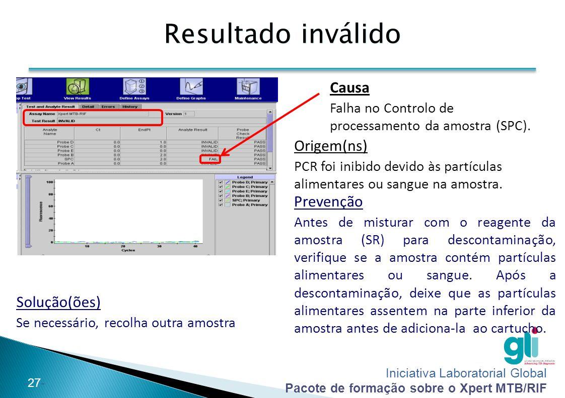 Iniciativa Laboratorial Global Pacote de formação sobre o Xpert MTB/RIF -27- Resultado inválido Solução(ões) Se necessário, recolha outra amostra Caus