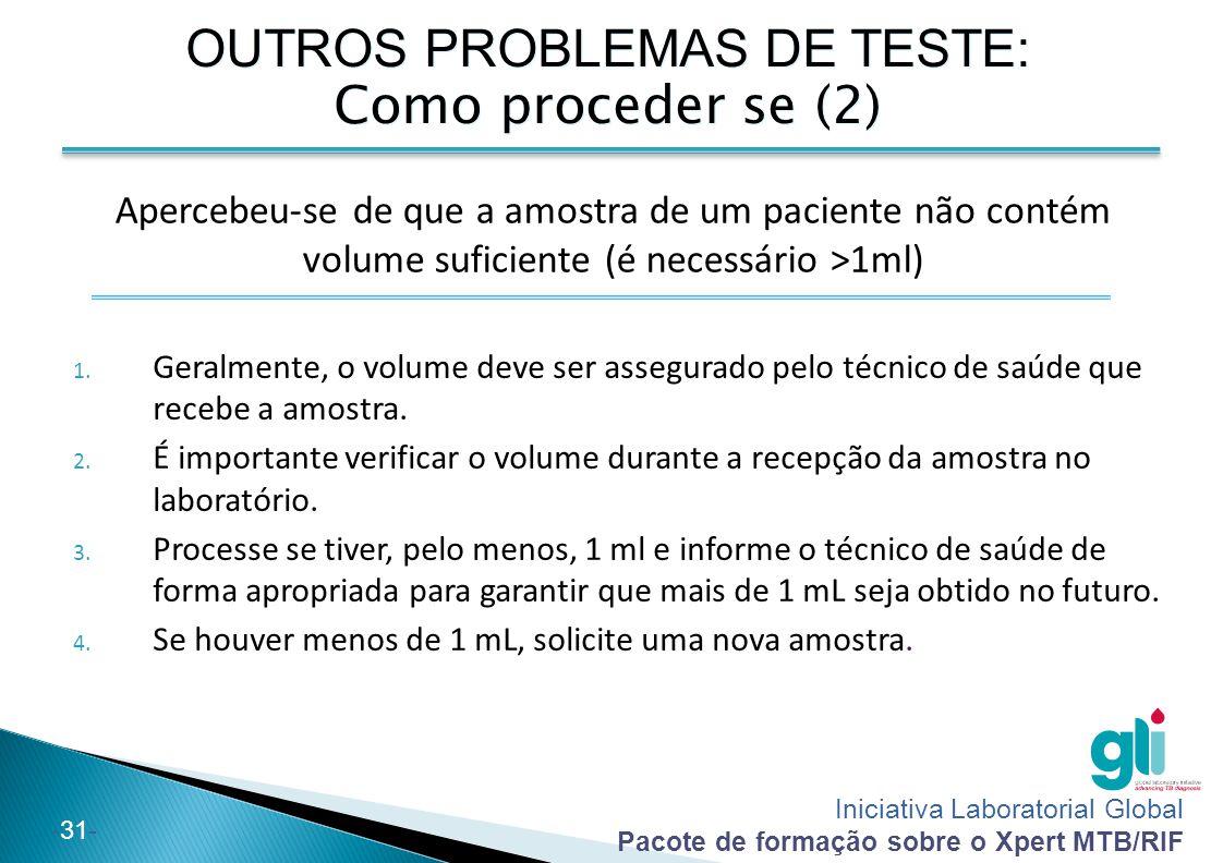 Iniciativa Laboratorial Global Pacote de formação sobre o Xpert MTB/RIF -31- 1. Geralmente, o volume deve ser assegurado pelo técnico de saúde que rec
