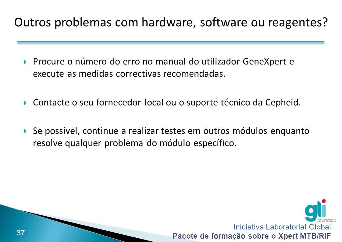 Iniciativa Laboratorial Global Pacote de formação sobre o Xpert MTB/RIF -37- Outros problemas com hardware, software ou reagentes?  Procure o número