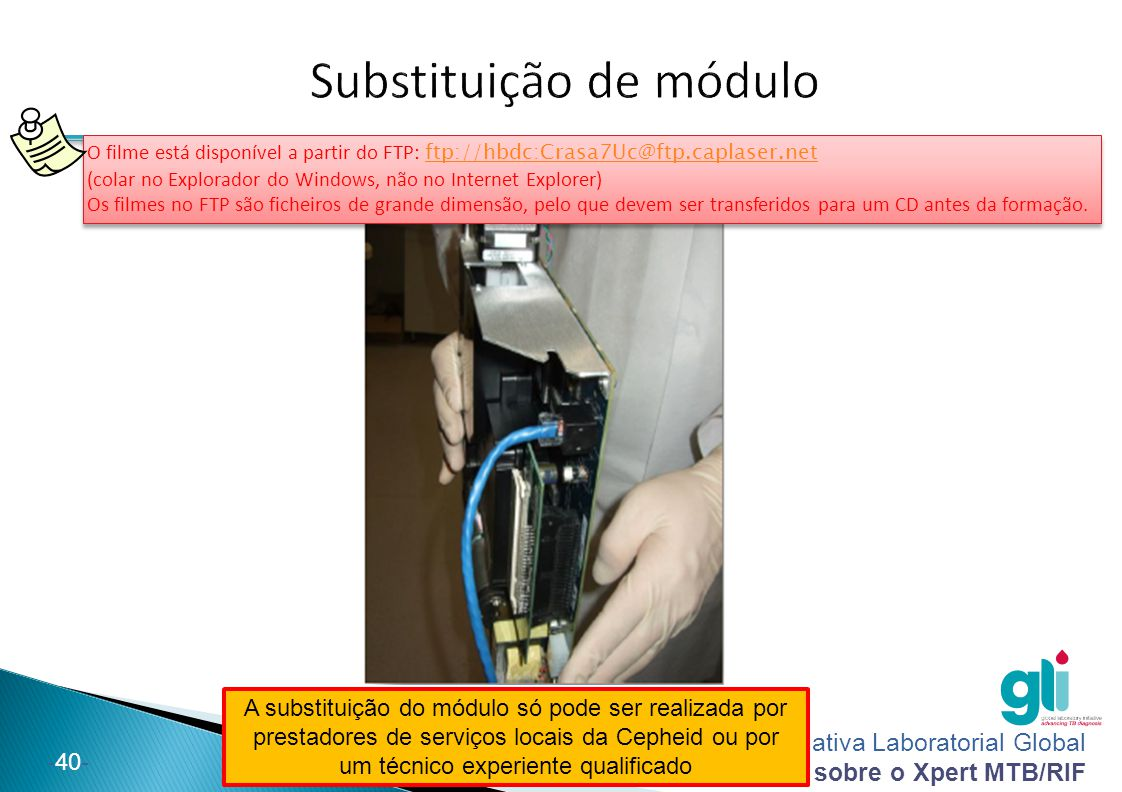 Iniciativa Laboratorial Global Pacote de formação sobre o Xpert MTB/RIF -40- A substituição do módulo só pode ser realizada por prestadores de serviço