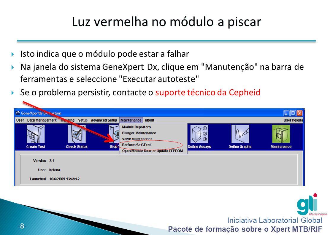 Iniciativa Laboratorial Global Pacote de formação sobre o Xpert MTB/RIF -8--8- Luz vermelha no módulo a piscar  Isto indica que o módulo pode estar a