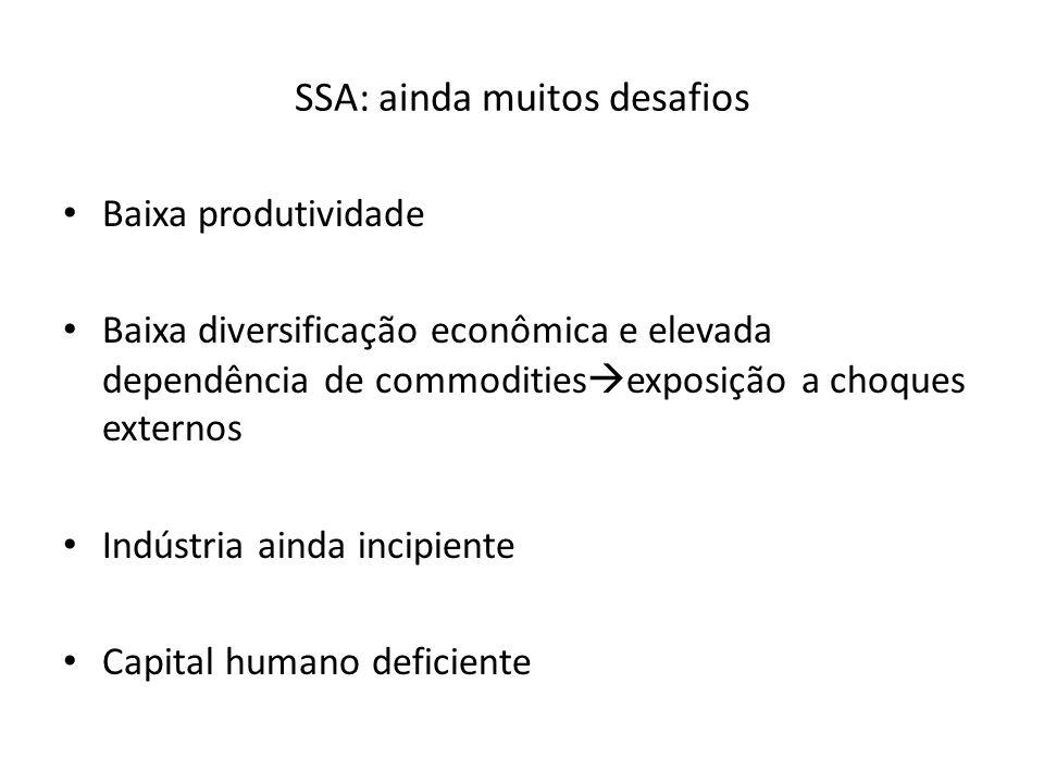 SSA: ainda muitos desafios Baixa produtividade Baixa diversificação econômica e elevada dependência de commodities  exposição a choques externos Indústria ainda incipiente Capital humano deficiente