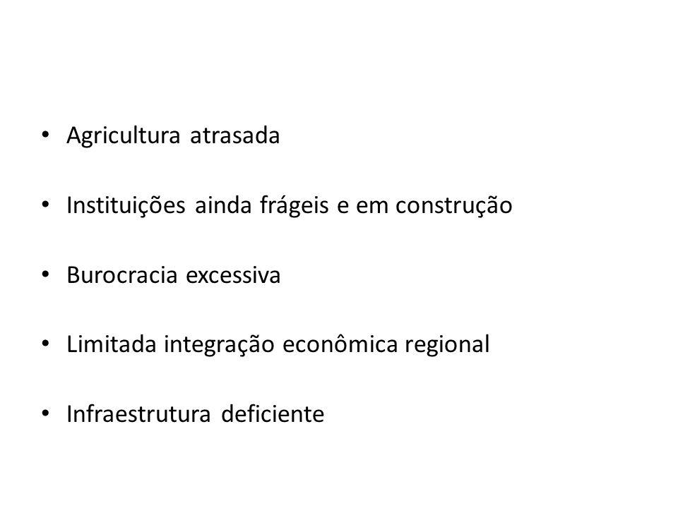 Agricultura atrasada Instituições ainda frágeis e em construção Burocracia excessiva Limitada integração econômica regional Infraestrutura deficiente