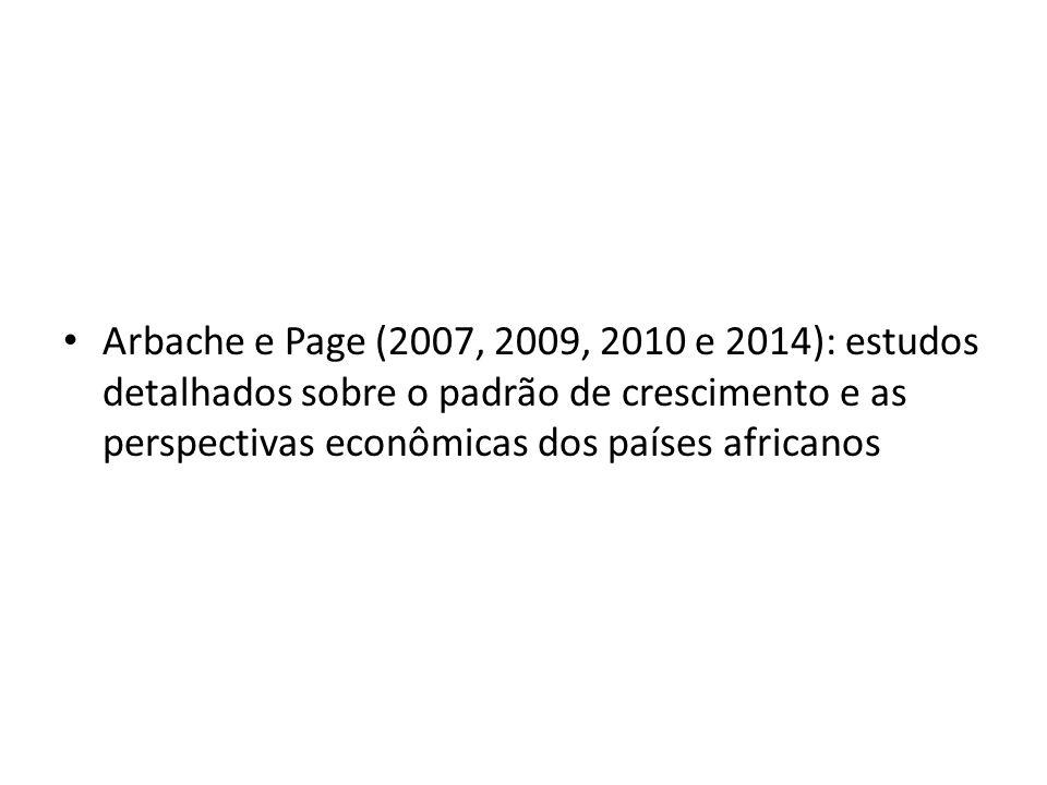 Arbache e Page (2007, 2009, 2010 e 2014): estudos detalhados sobre o padrão de crescimento e as perspectivas econômicas dos países africanos