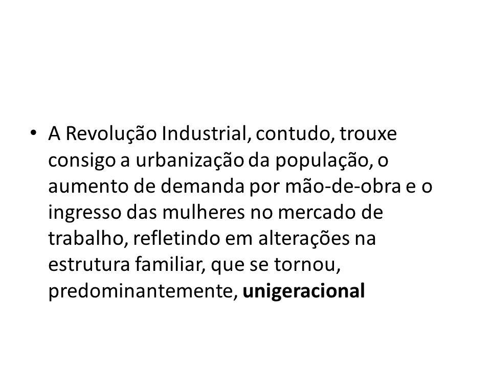 A Revolução Industrial, contudo, trouxe consigo a urbanização da população, o aumento de demanda por mão-de-obra e o ingresso das mulheres no mercado de trabalho, refletindo em alterações na estrutura familiar, que se tornou, predominantemente, unigeracional