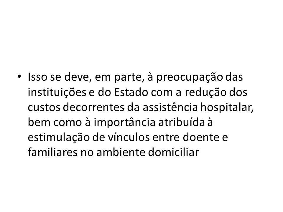 Isso se deve, em parte, à preocupação das instituições e do Estado com a redução dos custos decorrentes da assistência hospitalar, bem como à importância atribuída à estimulação de vínculos entre doente e familiares no ambiente domiciliar