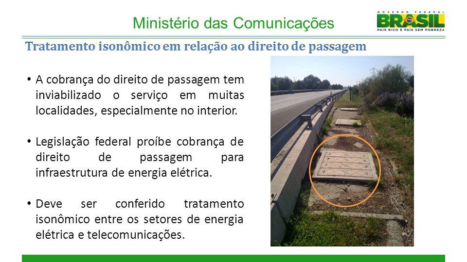 Cobertura Ministério das Comunicações A cobrança do direito de passagem tem inviabilizado o serviço em muitas localidades, especialmente no interior.