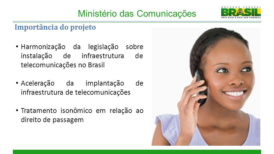 Cobertura Ministério das Comunicações Harmonização da legislação sobre instalação de infraestrutura de telecomunicações no Brasil Aceleração da implantação de infraestrutura de telecomunicações Tratamento isonômico em relação ao direito de passagem
