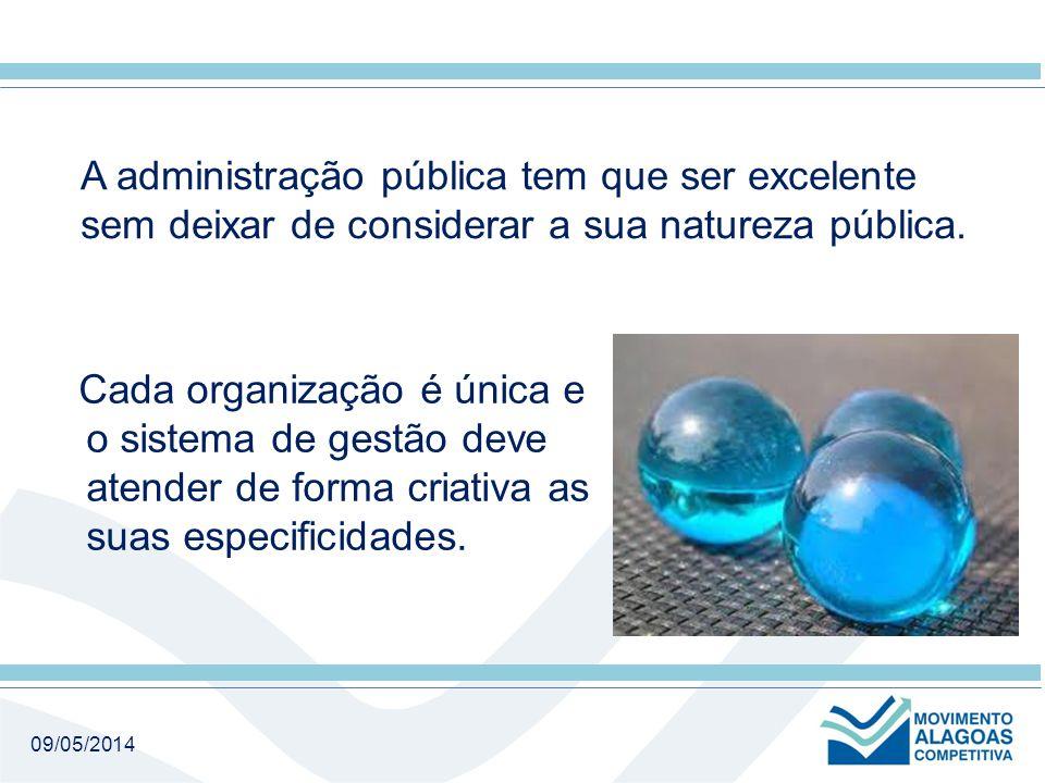 09/05/2014 A administração pública tem que ser excelente sem deixar de considerar a sua natureza pública.
