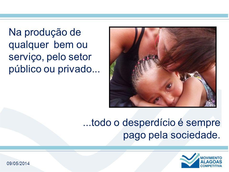 09/05/2014 Na produção de qualquer bem ou serviço, pelo setor público ou privado......todo o desperdício é sempre pago pela sociedade.