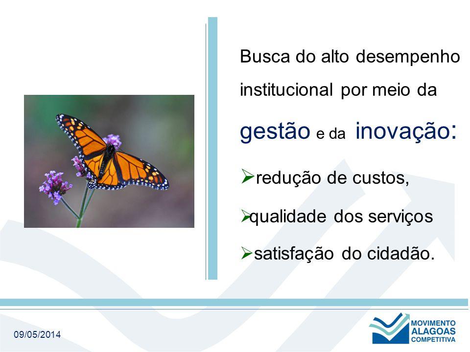 09/05/2014 Busca do alto desempenho institucional por meio da gestão e da inovação :  redução de custos,  qualidade dos serviços  satisfação do cidadão.