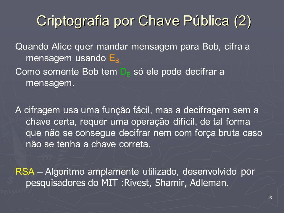 13 Criptografia por Chave Pública (2) Quando Alice quer mandar mensagem para Bob, cifra a mensagem usando E B.