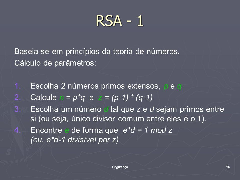 Segurança14 RSA - 1 Baseia-se em princípios da teoria de números.
