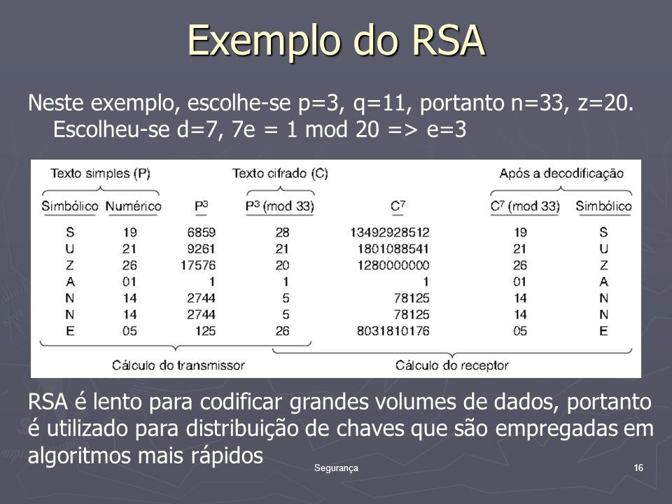 Segurança16 Exemplo do RSA Neste exemplo, escolhe-se p=3, q=11, portanto n=33, z=20.