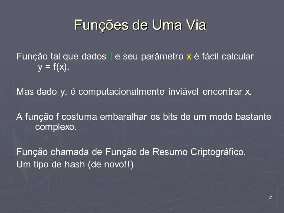 17 Funções de Uma Via Função tal que dados f e seu parâmetro x é fácil calcular y = f(x).