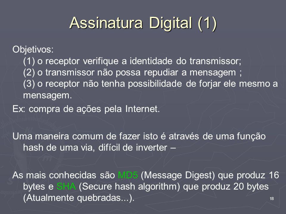 18 Assinatura Digital (1) Objetivos: (1) o receptor verifique a identidade do transmissor; (2) o transmissor não possa repudiar a mensagem ; (3) o receptor não tenha possibilidade de forjar ele mesmo a mensagem.