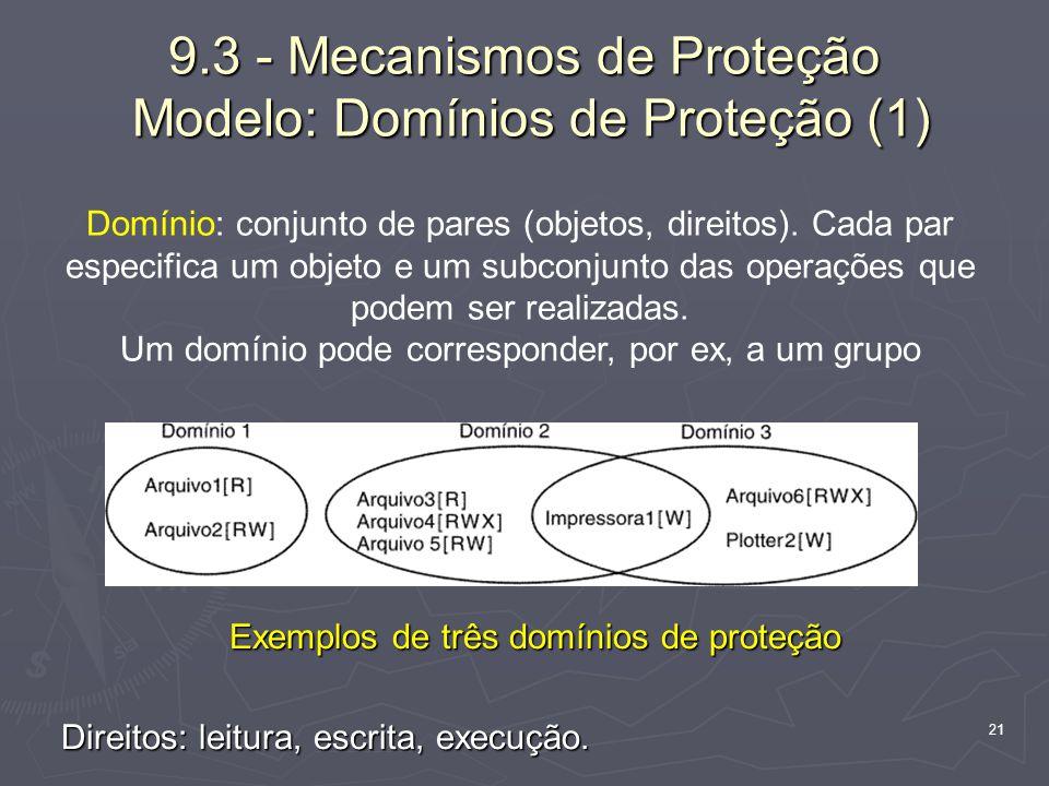 21 9.3 - Mecanismos de Proteção Modelo: Domínios de Proteção (1) Exemplos de três domínios de proteção Direitos: leitura, escrita, execução.