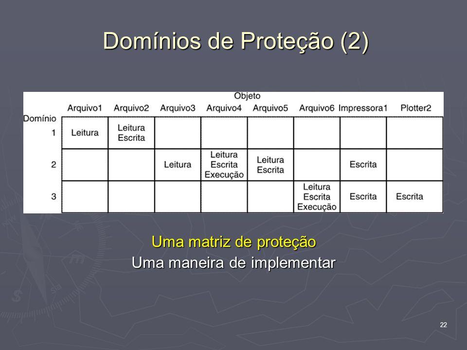 22 Domínios de Proteção (2) Uma matriz de proteção Uma maneira de implementar