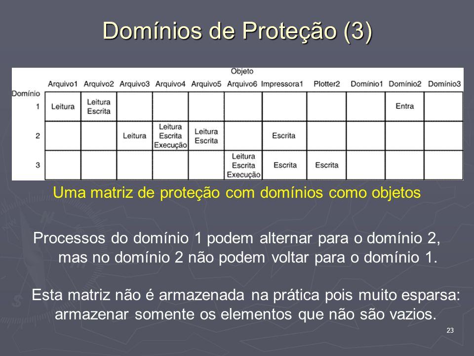 23 Uma matriz de proteção com domínios como objetos Processos do domínio 1 podem alternar para o domínio 2, mas no domínio 2 não podem voltar para o domínio 1.