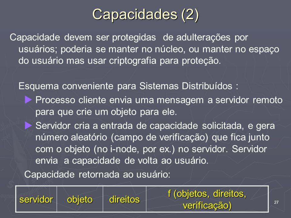 27 Capacidade devem ser protegidas de adulterações por usuários; poderia se manter no núcleo, ou manter no espaço do usuário mas usar criptografia para proteção.