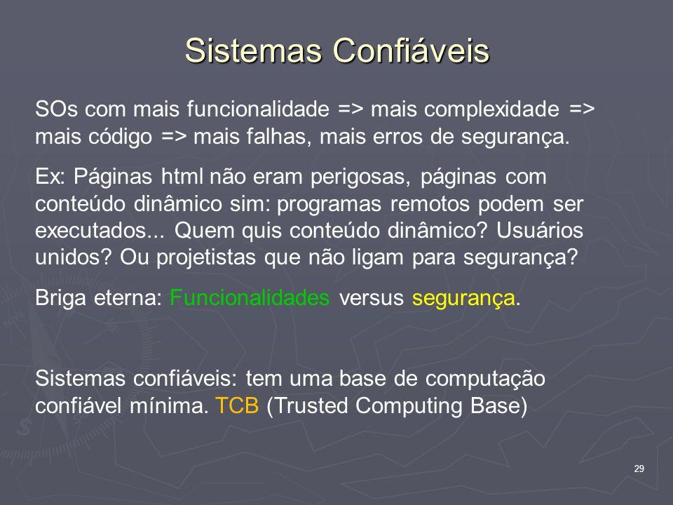 29 Sistemas Confiáveis SOs com mais funcionalidade => mais complexidade => mais código => mais falhas, mais erros de segurança.