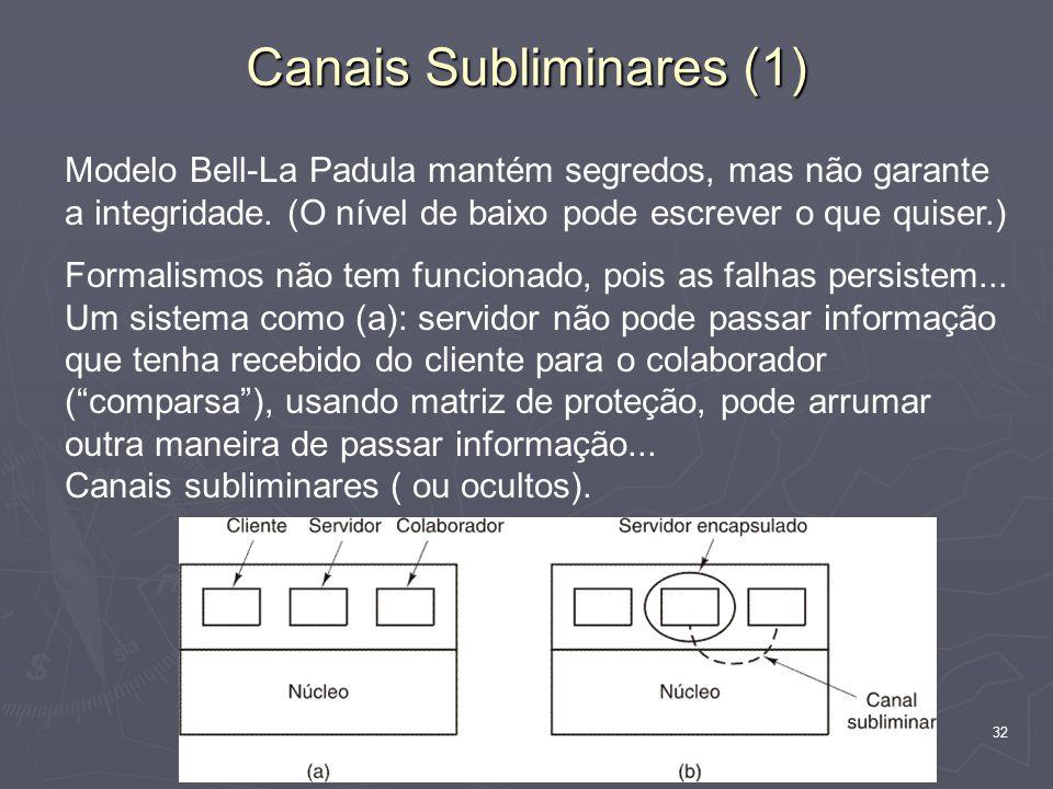 32 Canais Subliminares (1) Modelo Bell-La Padula mantém segredos, mas não garante a integridade.