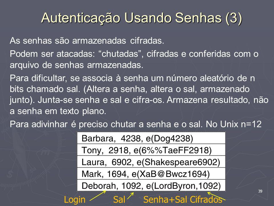 39 Autenticação Usando Senhas (3) As senhas são armazenadas cifradas.