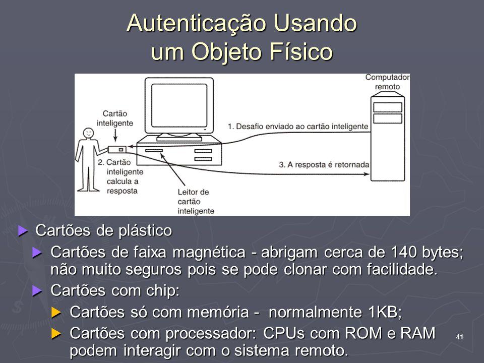 41 Autenticação Usando um Objeto Físico  Cartões de plástico  Cartões de faixa magnética - abrigam cerca de 140 bytes; não muito seguros pois se pode clonar com facilidade.