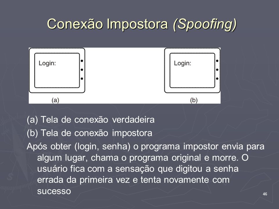 46 Conexão Impostora (Spoofing) (a) Tela de conexão verdadeira (b) Tela de conexão impostora Após obter (login, senha) o programa impostor envia para algum lugar, chama o programa original e morre.
