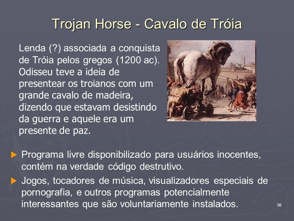 56 Trojan Horse - Cavalo de Tróia   Programa livre disponibilizado para usuários inocentes, contém na verdade código destrutivo.
