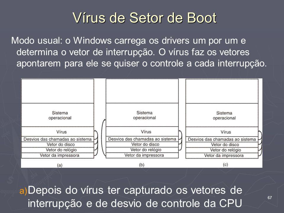 67 Modo usual: o Windows carrega os drivers um por um e determina o vetor de interrupção.